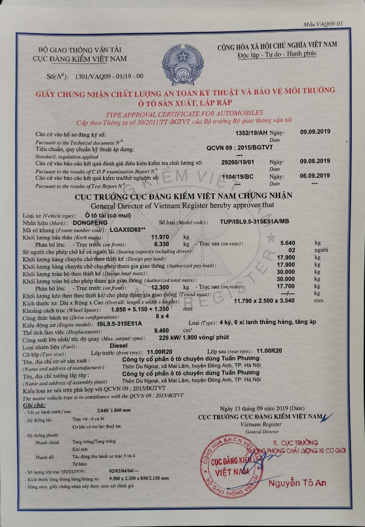 XE TAI DONGFENG 4 CHÂN L315